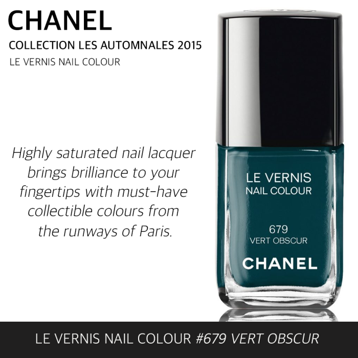 Chanel Fall 2015 makeup: Les Automnales collection; Nail Colour #679 - dark green with a blue tinge underwater